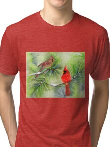 Cardinals in the Snowy Pines Tri-blend T-Shirt