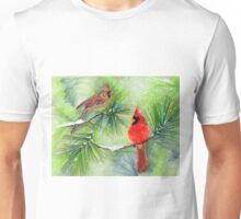 Cardinals in the Snowy Pines Unisex T-Shirt