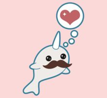 Cute Mustache Narwhal One Piece - Short Sleeve