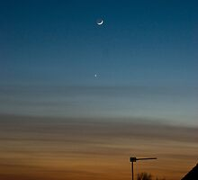 Skyline with Moon and Venus Aligned by Scott Read