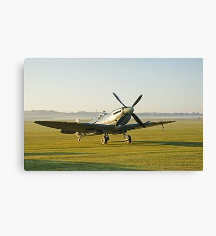 Spitfire IX Early Morning at Duxford Canvas Print
