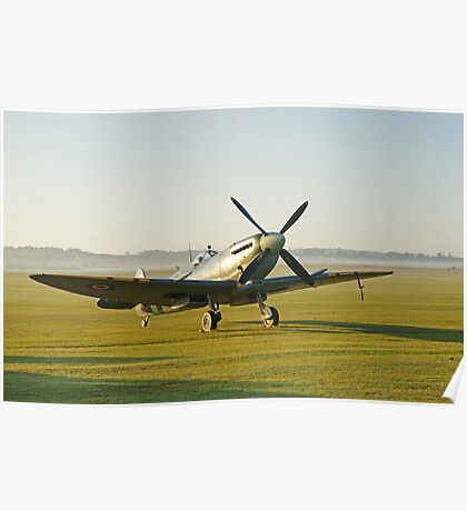 Spitfire IX Early Morning at Duxford Poster
