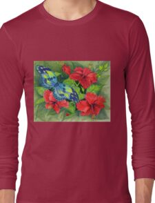 Hibiscus and Butterfly Long Sleeve T-Shirt