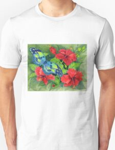 Hibiscus and Butterfly Unisex T-Shirt