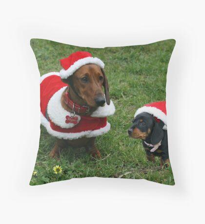 Santa Flynn and Salchicha his helper Throw Pillow