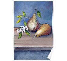 Watercolor 3 Pears Poster