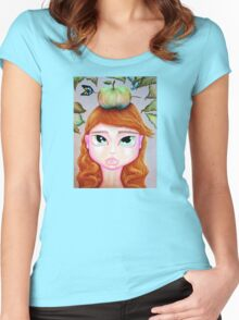 Girl With Apple On Her Head Women's Fitted Scoop T-Shirt