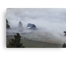 The barn, the cows, and the fog Canvas Print