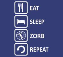 Funny Zorbing Eat Sleep Zorb Repeat by movieshirtguy