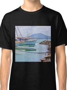 Moored Boats near rock wall Classic T-Shirt