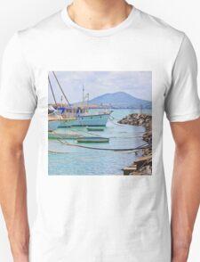 Moored Boats near rock wall T-Shirt