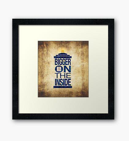 It's Bigger on the Inside - Tardis Grunge Framed Print