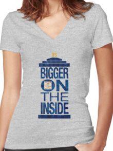 It's Bigger on the Inside - Tardis Grunge Women's Fitted V-Neck T-Shirt