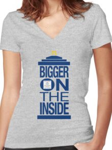 It's Bigger on the Inside - Tardis Women's Fitted V-Neck T-Shirt