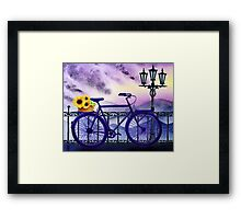 Bicycle With Basket And Sunflowers Framed Print