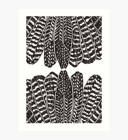 Tribal Feathers  Black Art Print