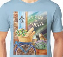 Bicycle With Basket At The Cafe Window Unisex T-Shirt