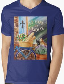 Bicycle With Basket At The Cafe Window Mens V-Neck T-Shirt