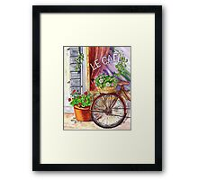 French Cafe And Bicycle With Basket Framed Print