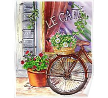 French Cafe And Bicycle With Basket Poster