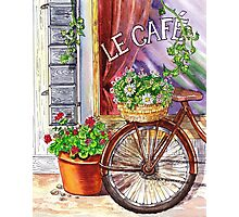 French Cafe And Bicycle With Basket Photographic Print