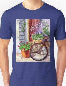 French Cafe And Bicycle With Basket Unisex T-Shirt