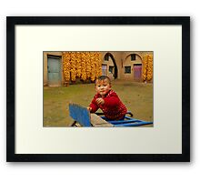 cute boy with his cave Framed Print