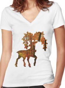 Sawsbuck (autumn) used horn leech Women's Fitted V-Neck T-Shirt