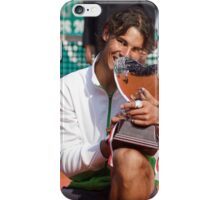 Rafa Nadal biting his 7th consecutive Monte-Carlo trophy iPhone Case/Skin