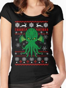 Cthulhu Ugly Christmas Sweater Women's Fitted Scoop T-Shirt