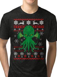 Cthulhu Ugly Christmas Sweater Tri-blend T-Shirt
