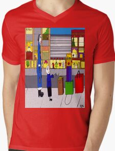 Shopping bag lady Mens V-Neck T-Shirt