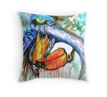 Toucan and Parrot Carnival Throw Pillow
