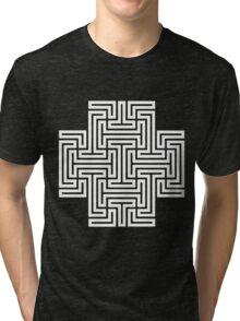 Geometric Maze Pattern Swastika - White Tri-blend T-Shirt