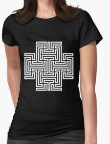 Geometric Maze Pattern Swastika - White Womens Fitted T-Shirt