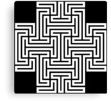 Geometric Maze Pattern Swastika - White Canvas Print