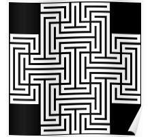 Geometric Maze Pattern Swastika - White Poster