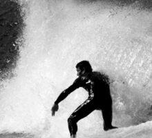 Surfer in Black And White Sticker