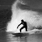 Surfer in Black And White by Noel Elliot