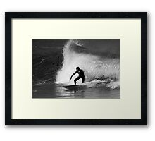 Surfer in Black And White Framed Print
