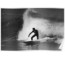 Surfer in Black And White Poster