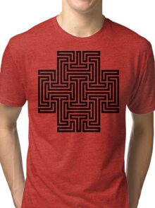 Geometric Maze Pattern Swastika - Black Tri-blend T-Shirt