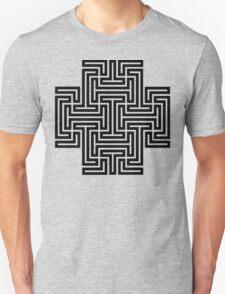 Geometric Maze Pattern Swastika - Black T-Shirt