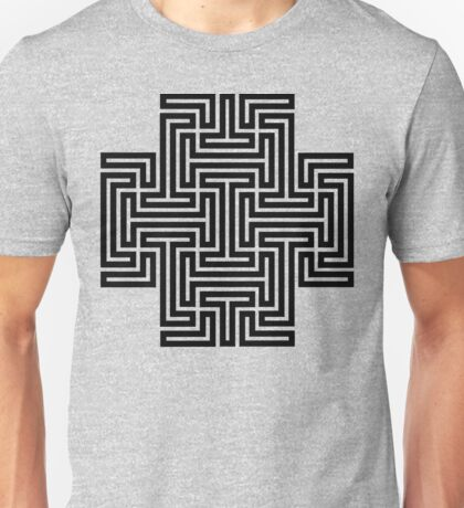 Geometric Maze Pattern Swastika - Black Unisex T-Shirt