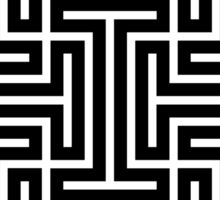 Geometric Maze Pattern Swastika - Black Sticker