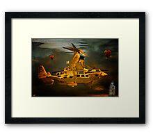 """The Osprey"" - A  Golden Steam Powered Flying Gunship Framed Print"
