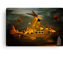 """""""The Osprey"""" - A  Golden Steam Powered Flying Gunship Canvas Print"""
