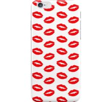 Super Bright Neon Red Lips On White iPhone Case/Skin