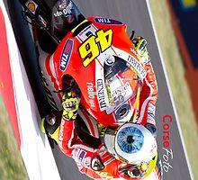 Rossi on his Ducati at Mugello by corsefoto