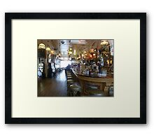 Haunted? What sits on the 2nd bar stool in front? Framed Print